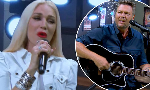 Blake Shelton and Gwen Stefani serenade each other during duet of their song Happy Anywhere – Daily Mail